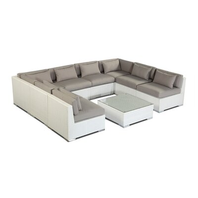 Oahu 9 Piece Deep Seating Group Fabric: Grey, Finish: White
