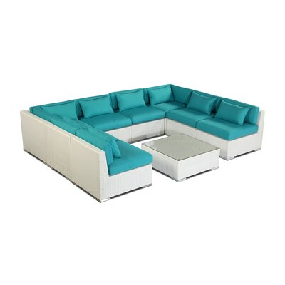 Oahu 9 Piece Deep Seating Group Fabric: Turquoise, Finish: White