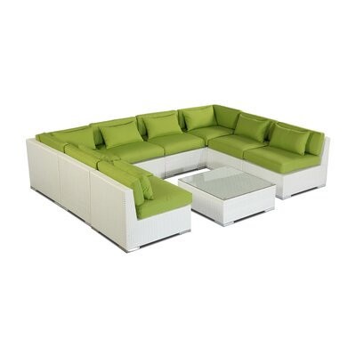 Oahu 9 Piece Deep Seating Group Fabric: Lime Green, Finish: White