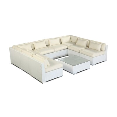 Oahu 9 Piece Deep Seating Group Fabric: Ivory, Finish: White