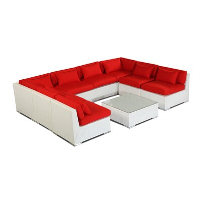 Oahu 9 Piece Deep Seating Group Fabric: Red, Finish: White
