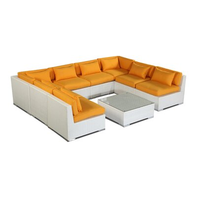 Oahu 9 Piece Deep Seating Group Fabric: Sunflower, Finish: White