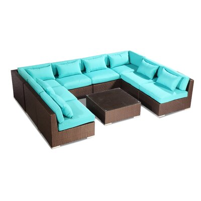Oahu 9 Piece Deep Seating Group Fabric: Turquoise, Finish: Brown