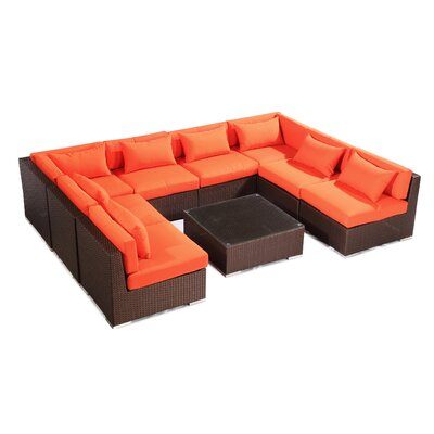 Oahu 9 Piece Deep Seating Group Fabric: Orange, Finish: Brown