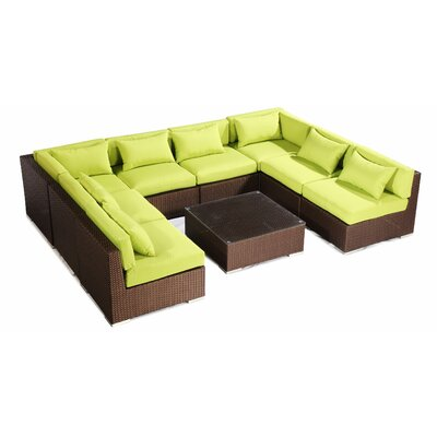 Oahu 9 Piece Deep Seating Group Fabric: Lime Green, Finish: Brown