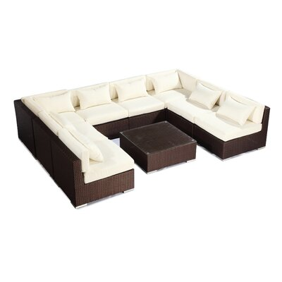 Oahu 9 Piece Deep Seating Group Fabric: Ivory, Finish: Brown