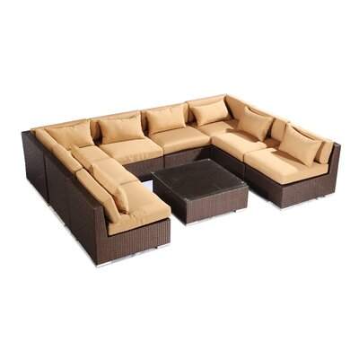 Oahu 9 Piece Deep Seating Group Fabric: Taupe, Finish: Brown