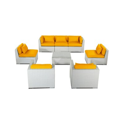 Molokai 8 Piece Deep Seating Group Fabric: Sunflower, Finish: White