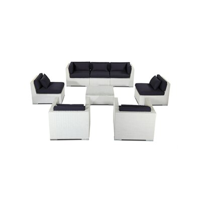 Molokai 8 Piece Deep Seating Group Fabric: Navy, Finish: White