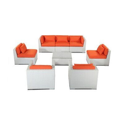 Molokai 8 Piece Deep Seating Group Fabric: Orange, Finish: White