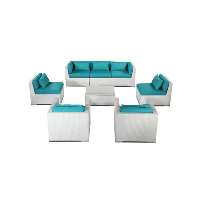 Molokai 8 Piece Deep Seating Group Fabric: Turquoise, Finish: White