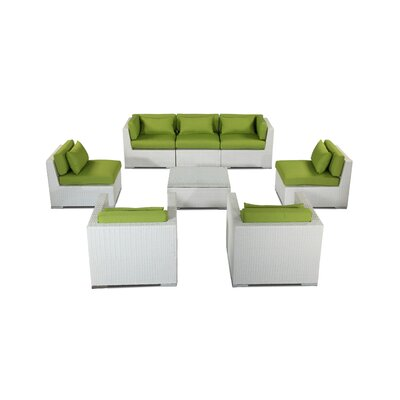 Molokai 8 Piece Deep Seating Group Fabric: Lime Green, Finish: White