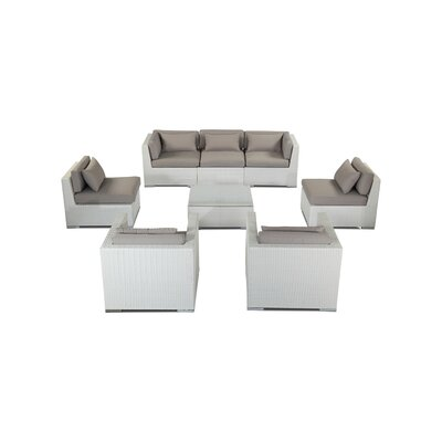 Molokai 8 Piece Deep Seating Group Fabric: Grey, Finish: White
