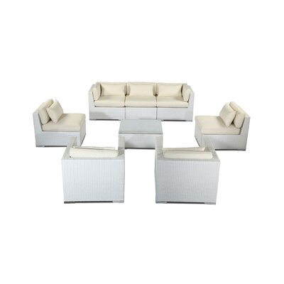 Molokai 8 Piece Deep Seating Group Fabric: Ivory, Finish: White
