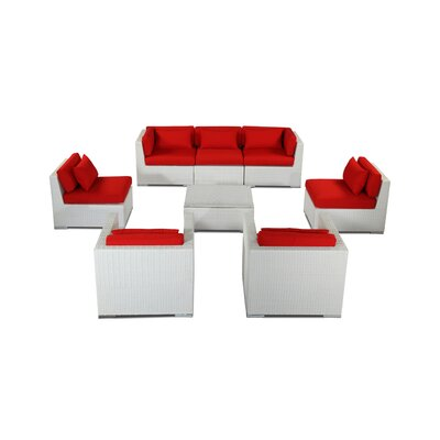 Molokai 8 Piece Deep Seating Group Fabric: Red, Finish: White