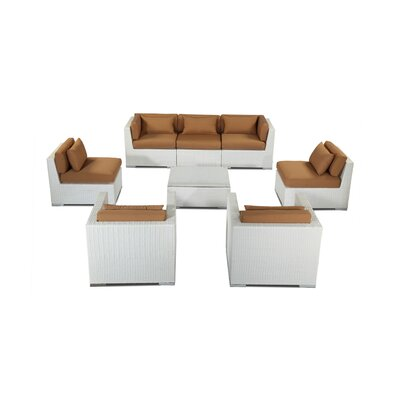 Molokai 8 Piece Deep Seating Group Fabric: Taupe, Finish: White