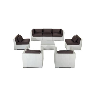 Molokai 8 Piece Deep Seating Group Fabric: Graphite, Finish: White