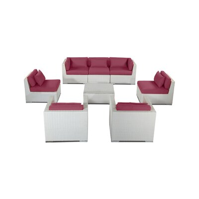 Molokai 8 Piece Deep Seating Group Fabric: Orchid, Finish: White