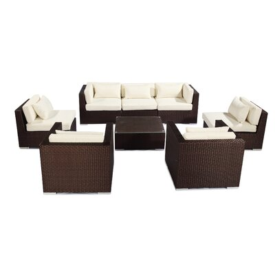 Molokai 8 Piece Deep Seating Group Fabric: Ivory, Finish: Brown