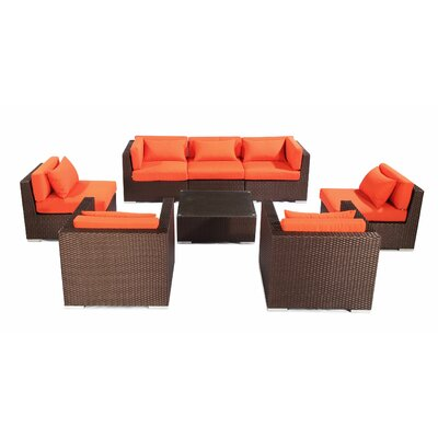 Molokai 8 Piece Deep Seating Group Fabric: Orange, Finish: Brown