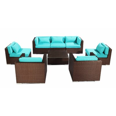 Molokai 8 Piece Deep Seating Group Fabric: Turquoise, Finish: Brown