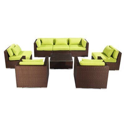 Molokai 8 Piece Deep Seating Group Fabric: Lime Green, Finish: Brown