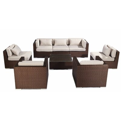 Molokai 8 Piece Deep Seating Group Fabric: Grey, Finish: Brown