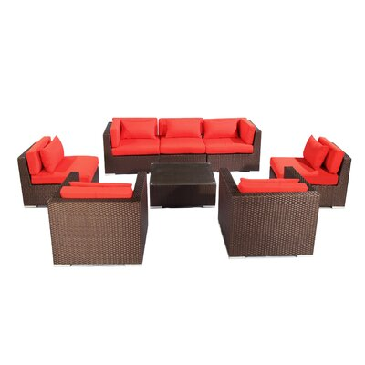 Molokai 8 Piece Deep Seating Group Fabric: Red, Finish: Brown