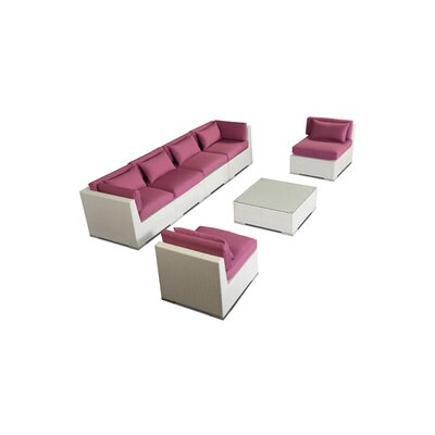 Waikiki 7 Piece Deep Seating Group Fabric: Orchid, Finish: White