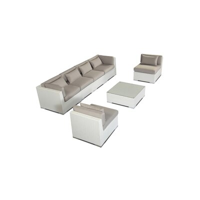 Waikiki 7 Piece Deep Seating Group Fabric: Grey, Finish: White