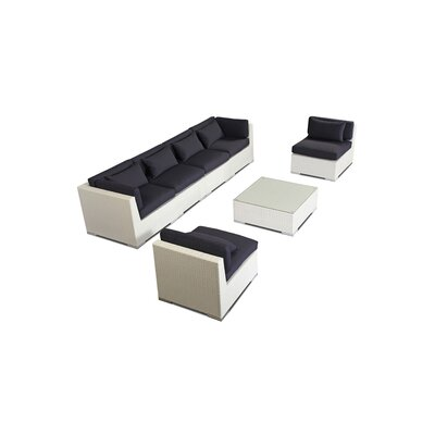 Waikiki 7 Piece Deep Seating Group Fabric: Navy, Finish: White
