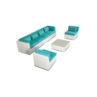 Waikiki 7 Piece Deep Seating Group Fabric: Turquoise, Finish: White