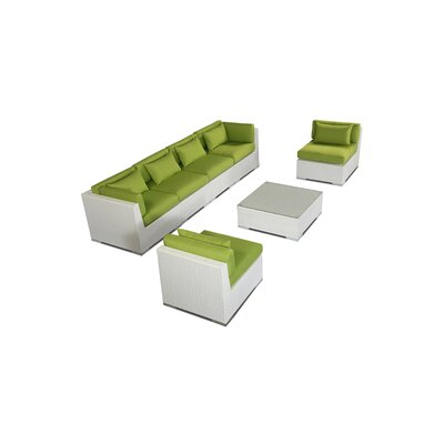 Waikiki 7 Piece Deep Seating Group Fabric: Lime Green, Finish: White