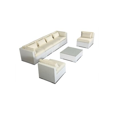 Waikiki 7 Piece Deep Seating Group Fabric: Ivory, Finish: White