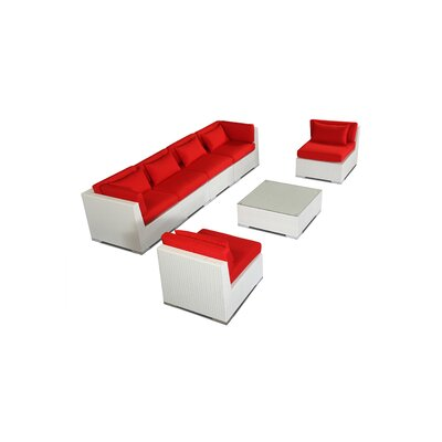 Waikiki 7 Piece Deep Seating Group Fabric: Red, Finish: White