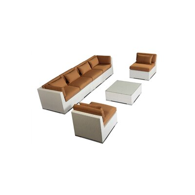 Waikiki 7 Piece Deep Seating Group Fabric: Taupe, Finish: White