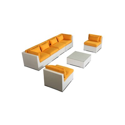 Waikiki 7 Piece Deep Seating Group Fabric: Sunflower, Finish: White