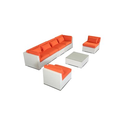 Waikiki 7 Piece Deep Seating Group Fabric: Orange, Finish: White