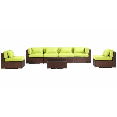 Waikiki 7 Piece Deep Seating Group Fabric: Lime Green, Finish: Brown