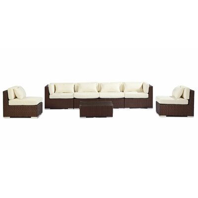 Waikiki 7 Piece Deep Seating Group Fabric: Ivory, Finish: Brown