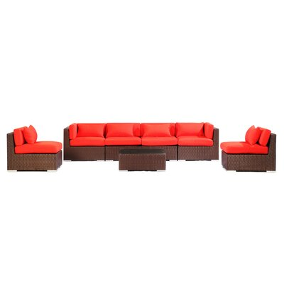 Waikiki 7 Piece Deep Seating Group Fabric: Red, Finish: Brown