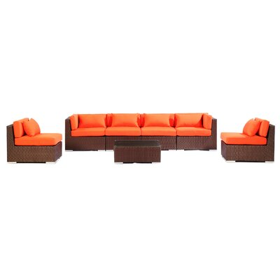 Waikiki 7 Piece Deep Seating Group Fabric: Orange, Finish: Brown