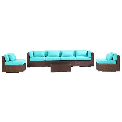 Waikiki 7 Piece Deep Seating Group Fabric: Turquoise, Finish: Brown