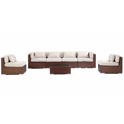 Waikiki 7 Piece Deep Seating Group Fabric: Grey, Finish: Brown