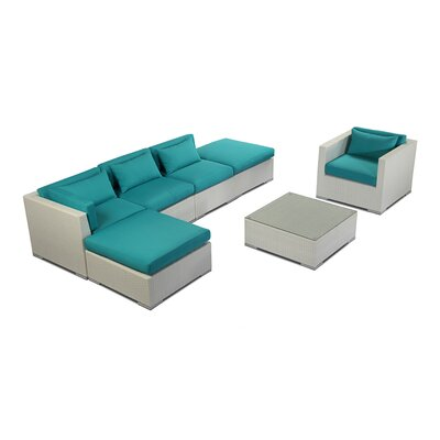 Lanai 7 Piece Deep Seating Group Fabric: Turquoise, Finish: White
