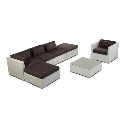 Lanai 7 Piece Deep Seating Group Fabric: Graphite, Finish: White