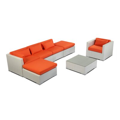 Lanai 7 Piece Deep Seating Group Fabric: Orange, Finish: White