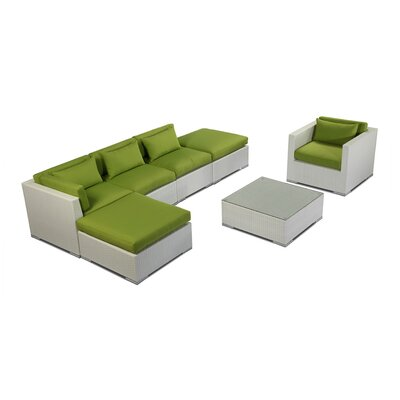 Lanai 7 Piece Deep Seating Group Fabric: Lime Green, Finish: White