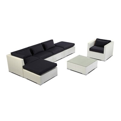 Lanai 7 Piece Deep Seating Group Fabric: Navy, Finish: White