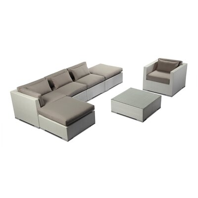 Lanai 7 Piece Deep Seating Group Fabric: Grey, Finish: White